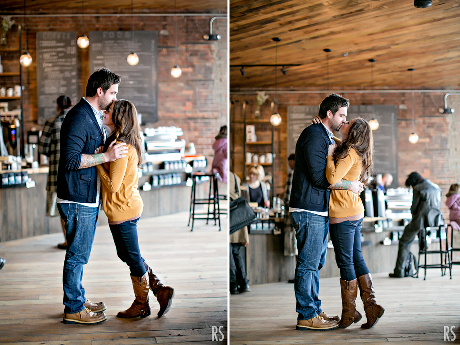 detroit michigan wedding photographer, Detroit Engagement photos, great lakes coffee co, rachel smaller photography