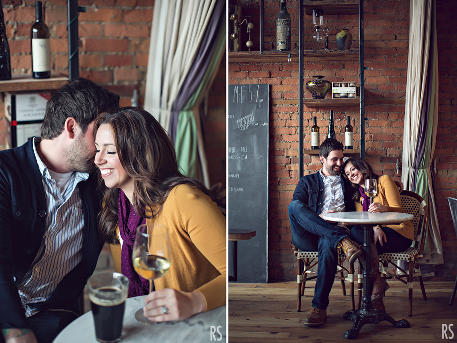 Detroit Michigan wedding photographer, Detroit engagement photos, great lakes coffee co., rachel smaller photography